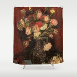 Vase with Chinese Asters and Gladioli (1886) by Vincent van Gogh  Shower Curtain