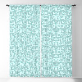Aqua Concentric Circle Pattern Blackout Curtain