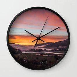 Smokey Dusk Valley Wall Clock