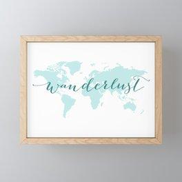 wanderlust teal world map Framed Mini Art Print
