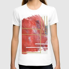 Reckless Abandon: a vibrant abstract mixed-media piece in red and gold by Alyssa Hamilton Art T-shirt