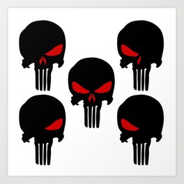Black red Punisher Skull Pattern Art Print