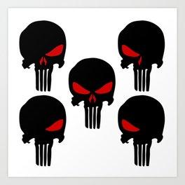 Black red Punisher Skull Pattern Art Print