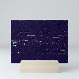Grunge glitchy texture with tv screens Mini Art Print