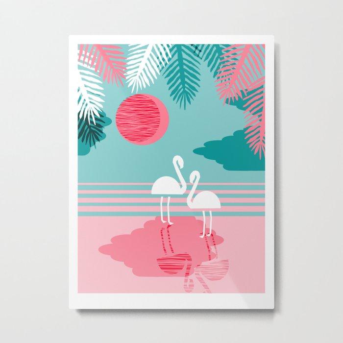 Chill Vibes - memphis retro throwback 1980s 80s neon pop art flamingo paradise socal vacation Metal Print