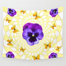 PANSY & YELLOW BUTTERFLIES  GEOMETRIC PATTERN Wall Tapestry