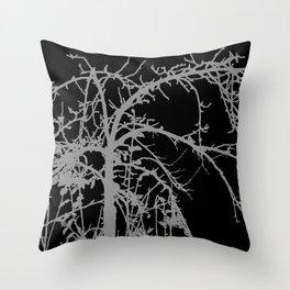 Creepy tree silhouette, grey on black Throw Pillow