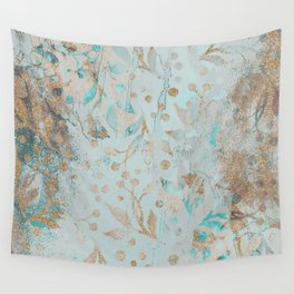 Pastel Botanical Watercolor Pattern Teal Gold Glitter Wall Tapestry
