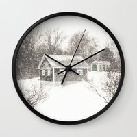 cape cod Wall Clocks featuring Cape Cod Snowstorm by ELIZABETH THOMAS Photography of Cape Cod