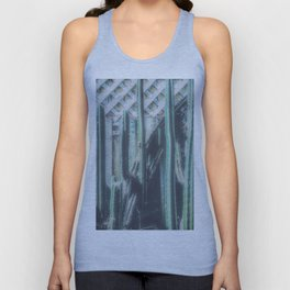 closeup green cactus with old vintage wood background Unisex Tank Top