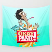 okay Wall Tapestries featuring Okay Panic! by Peter Gross