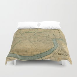 Vintage Map of New Orleans Louisiana (1893) Duvet Cover