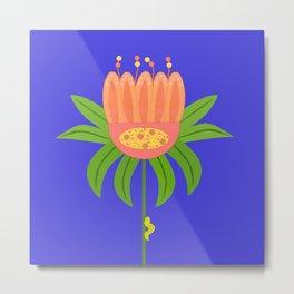 Orange Flower & Friend Metal Print