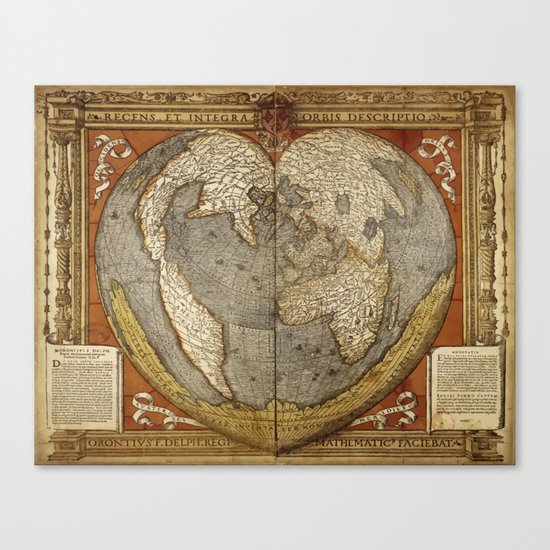 Heart-shaped projection map by Oronce Fine, 16th century Canvas Print