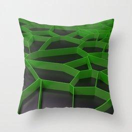 Green voronoi grate on black background Throw Pillow