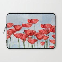 Poppyfield poppies poppy blue sky - watercolor artwork Laptop Sleeve