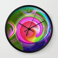 "agate Wall Clocks featuring "" Agate ""  by shiva camille"