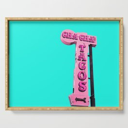 Cha-Cha's Tacos Retro Vintage Pink Sign Serving Tray