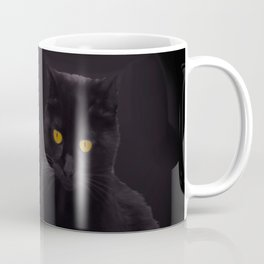 Black Cat On A Black Background #decor #buyart #society6 Coffee Mug