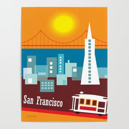 San Francisco, California - Skyline Illustration by Loose Petals Poster