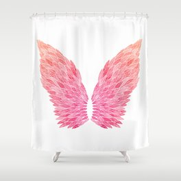 Pink Angel Wings Shower Curtain