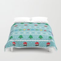 megaman Duvet Covers featuring Christmas Pixel Megaman pattern by KickPunch