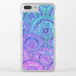 Aqua Blue Purple and Pink Sparkling Glitter Circles Clear iPhone Case