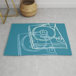 Blue Record Player Rug