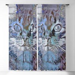 Crazy Paint - blue Cat Blackout Curtain