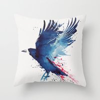 creepy Throw Pillows featuring Bloody Crow by Robert Farkas
