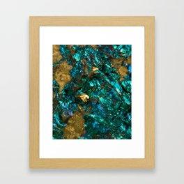 Teal Oil Slick and Gold Quartz Framed Art Print