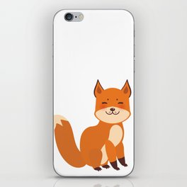 cute fox, boy and girl with funny face and fluffy tails on white background iPhone Skin