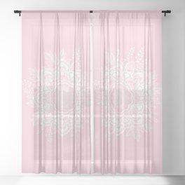 Mandala Bohemian Summer Blush Millennial Pink Floral illustration Sheer Curtain