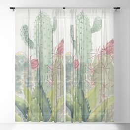 Cactus Watercolor Sheer Curtain
