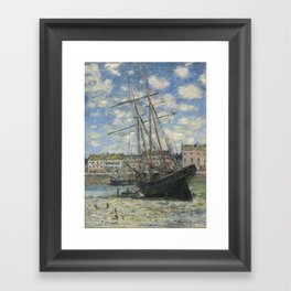 Claude Monet - Boats Lying at Low Tide at Facamp Framed Art Print
