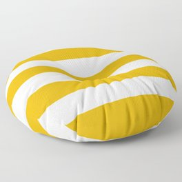 Mustard yellow - solid color - white stripes pattern Floor Pillow