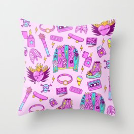 Pink Punk Girly Pattern Throw Pillow
