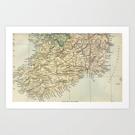 Vintage and Retro Map of Southern Ireland Art Print