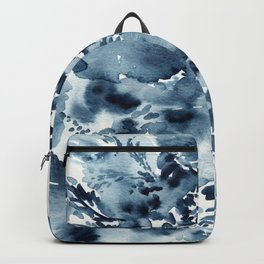 Abstract Monochromatic Watercolor Painting Indigo Blue Backpack
