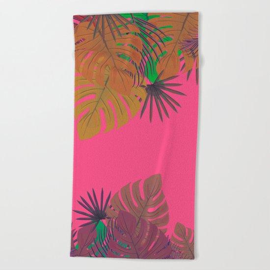 Tropical leaves 05 Beach Towel