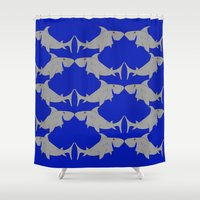 sharks Shower Curtains featuring Sharks by superdumb