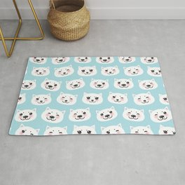 Kawaii cat with pink cheeks, pastel colors white blue pink  Rug