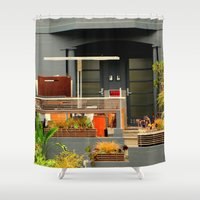 shabby chic Shower Curtains featuring Garden WIP - Shabby Chic by oneofacard