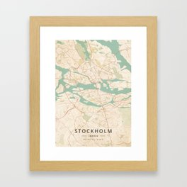 Stockholm, Sweden - Vintage Map Framed Art Print