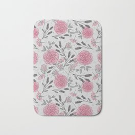 Soft and Sketchy Peonies Bath Mat