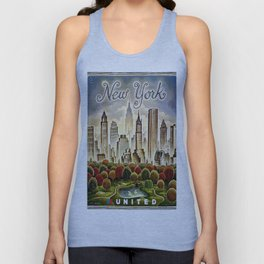Vintage New York Central Park United Airlines Advertisement Poster Unisex Tank Top