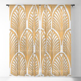 Orange,white,art deco, vintage,fan pattern, art nouveau, vintage, Sheer Curtain