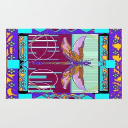 Western Dragonfly Purple-Turquoise Art abstract Rug
