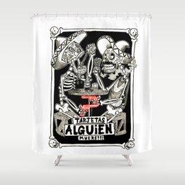 two skeletons gambling Shower Curtain