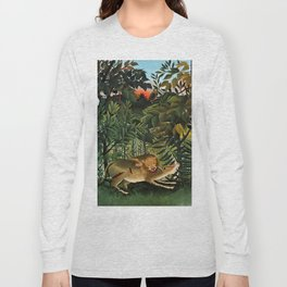 "Henri Rousseau ""A Lion Devouring its Prey"", 1905 Long Sleeve T-shirt"